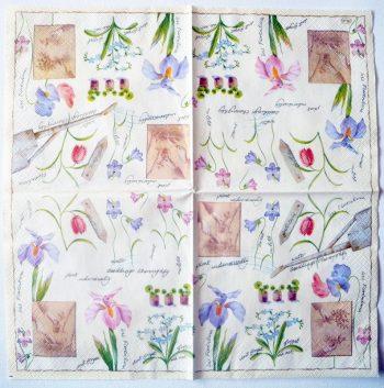 Decoupage Paper Napkins | Garden Flower Planting Irises Violets Forget Me Nots | Design Lunch Napkin  | Paper Napkins for Decoupage