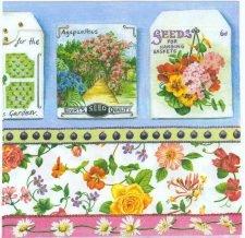 Decoupage Paper Napkin Flower Seed Bags