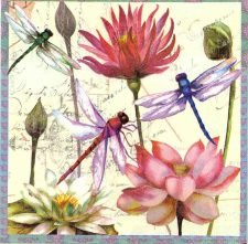 Decoupage Napkins | Flower Napkins | Chinese Water Lilies and Dragonflies | Paper Napkins for Decoupage