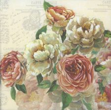 Decoupage Paper Napkins | Roses and Postcards  | Rose Napkins | Floral Napkins |  Lunch Paper Napkins for Decoupage