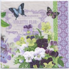 Decoupage Paper Napkins | French Violets and Butterflies | Paper Napkins for Decoupage