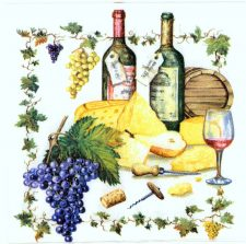Decoupage Paper Napkins | Grape Arbor Wine Bottles Grapes Barrels Corkscrew Cheese | Wine Napkins | Paper Napkins for Decoupage