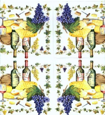 Decoupage Paper Napkins | Grape Arbor Wine Bottles Grapes Barrels Corkscrew Cheese | Wine Napkins | Paper Napkins for Decoupage
