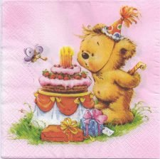 Decoupage Paper Napkins | Happy Birthday Bear | Party Napkins  | Paper Napkins for Decoupage