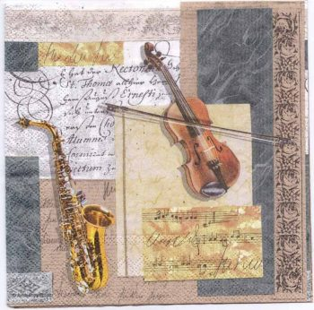 Decoupage Paper Napkins   Music Instruments Saxophone Violin Sheet Music   Paper Napkins for Decoupage