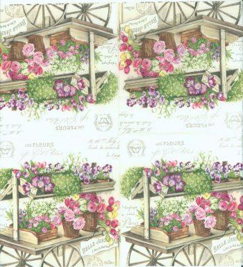 Decoupage Paper Napkins | Paris Flower Wagon | Rose Napkins | Floral Napkins | Paris Napkins | Paper Napkins for Decoupage