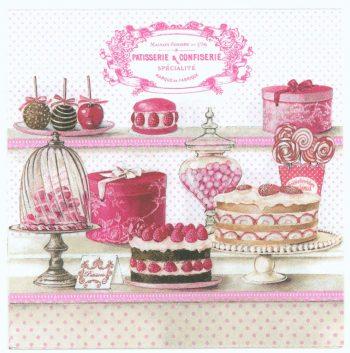 Decoupage Paper Napkins | Paris Patisserie Confiserie Pastries Cupcakes Cake | Party Napkins | Paris Napkins | Paper Napkins for Decoupage