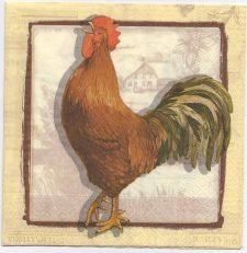 Decoupage Paper Napkins | Rooster and Hen Chickens | Lunch Napkins | Party Napkins | Paper Napkins for Decoupage