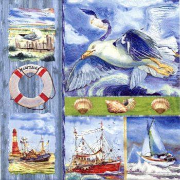 Decoupage Napkins | Nautical Napkins | Beach Napkins with Boats Shells Seagull | Paper Napkins for Decoupage