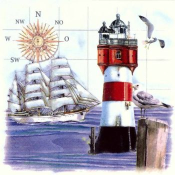 Decoupage Napkins | Nautical Napkins | Sailing Ship Lighthouse Compass Sea Gulls | Paper Napkins for Decoupage