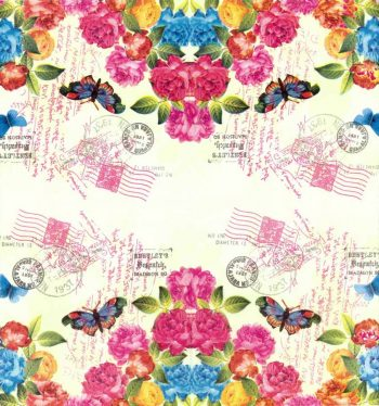 Decoupage Napkins | Floral Napkins | Postmarks Roses and Butterfly | Paper Napkins for Decoupage
