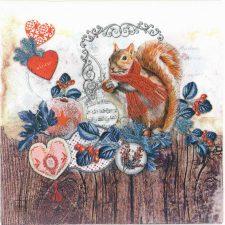 Decoupage Napkins |Christmas Napkins|Squirrel Forest Mistletoe Vintage Hearts|Paper Napkins for Decoupage