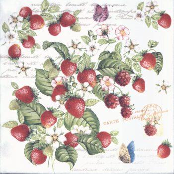 Decoupage Paper Napkins   Romantic Strawberries and Butterflies    Strawberry Napkins   Garden Napkins   Paper Napkins for Decoupage