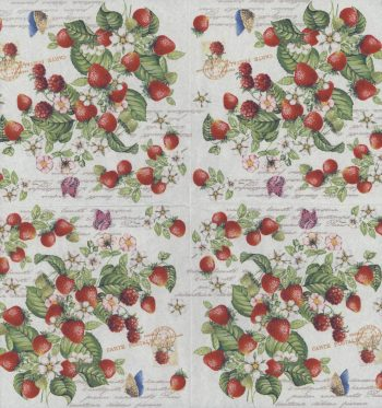 Decoupage Paper Napkins | Romantic Strawberries and Butterflies  | Strawberry Napkins | Garden Napkins | Paper Napkins for Decoupage