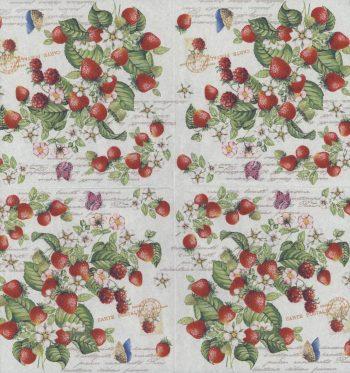 Decoupage Paper Napkins | Romantic Strawberries and Butterflies  | Strawberry Napkins | Garden Napkins | Paper Napkins for Decoupage