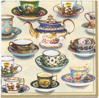Decoupage Paper Napkins | Tea Room Table Tea Cups Tea Pot | Tea Party Napkins | Lunch Napkins | Paper Napkins for Decoupage