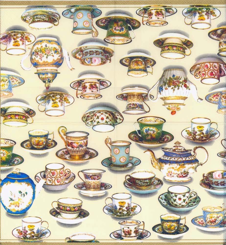 4 Decoupage Napkins Tea Cups Paper Napkins For Decoupage Tea Paper Napkins Vintage Paper Serviette Colorful Tea Cups Decorative Napkins
