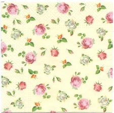 Decoupage Paper Napkins | Tiny Roses on Champagne Background  | Paper Napkins for Decoupage