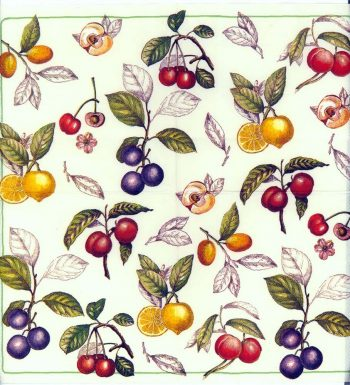 Decoupage Paper Napkins | Summer Fruits Cherries Plums Lemons Apples Villeroy and  Boch | Party Napkins | Paper Napkins for Decoupage
