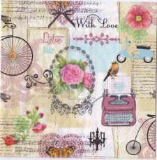 Decoupage Paper Napkins | Vintage Bike Typewriter Scooter | Paper Napkins for Decoupage