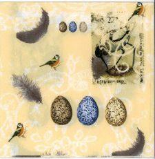 Decoupage Paper Napkins | Vintage Birds with Eggs and Feathers | Paper Napkins for Decoupage