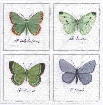 Decoupage Paper Art Napkin | Vintage Print of Four Butterflies | Lunch Napkin  | Paper Napkins for Decoupage