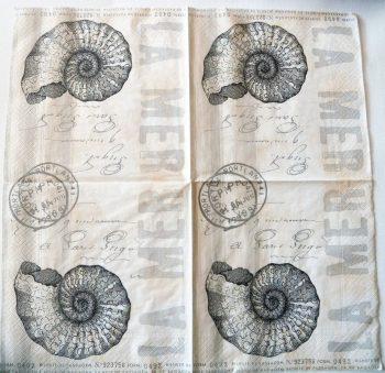 Decoupage Paper Napkins | Vintage Sea Nautilus Postmark French | Paper Napkins for Decoupage