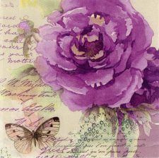 Decoupage Napkins |Rose Napkins | Classic Purple Rose with a Butterfly | Paper Napkins for Decoupage