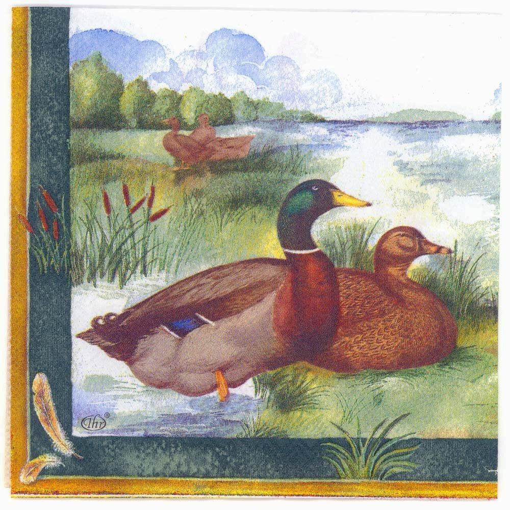 Decoupage Napkins Of Wild Ducks At Lake Chiarotino