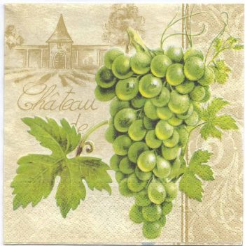 Decoupage Paper Napkins | French Wine Grapes and Chateau | Paper Napkins for Decoupage
