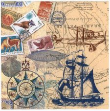 Decoupage Paper Napkins | Vintage Travel World Map Tall Sailing Ship Airplane Airship Stamps Postmarks | Paper Napkins for Decoupage