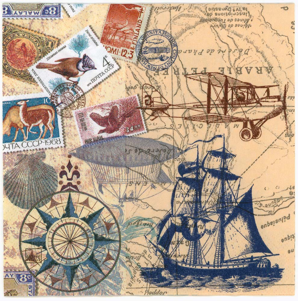 Decoupage Paper Napkins of Vintage Travel World Map Tall Sailing Ship  Airplane Airship