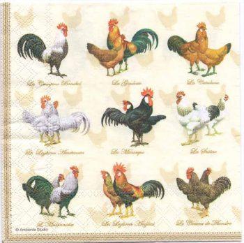 Decoupage Paper Napkins | Wyandotte Chickens Roosters Hens Poultry | Paper Napkins for Decoupage