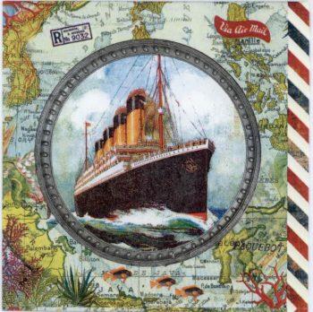 Decoupage Paper   Vintage Ocean Liner