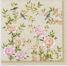 Paper Napkins Peonies and Birds on Yellow