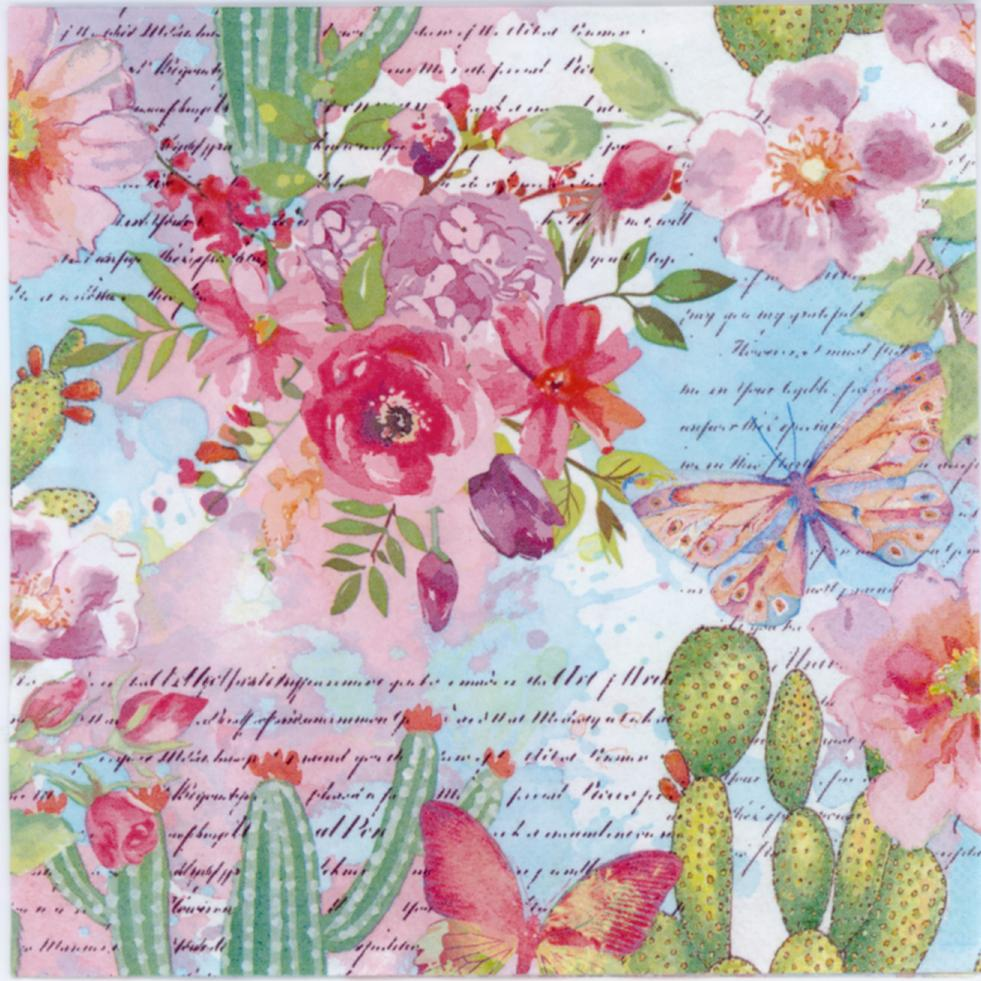 Decoupage Napkins of butterfly in the Cactus and Rose garden  Luncheon  Decorative Napkins