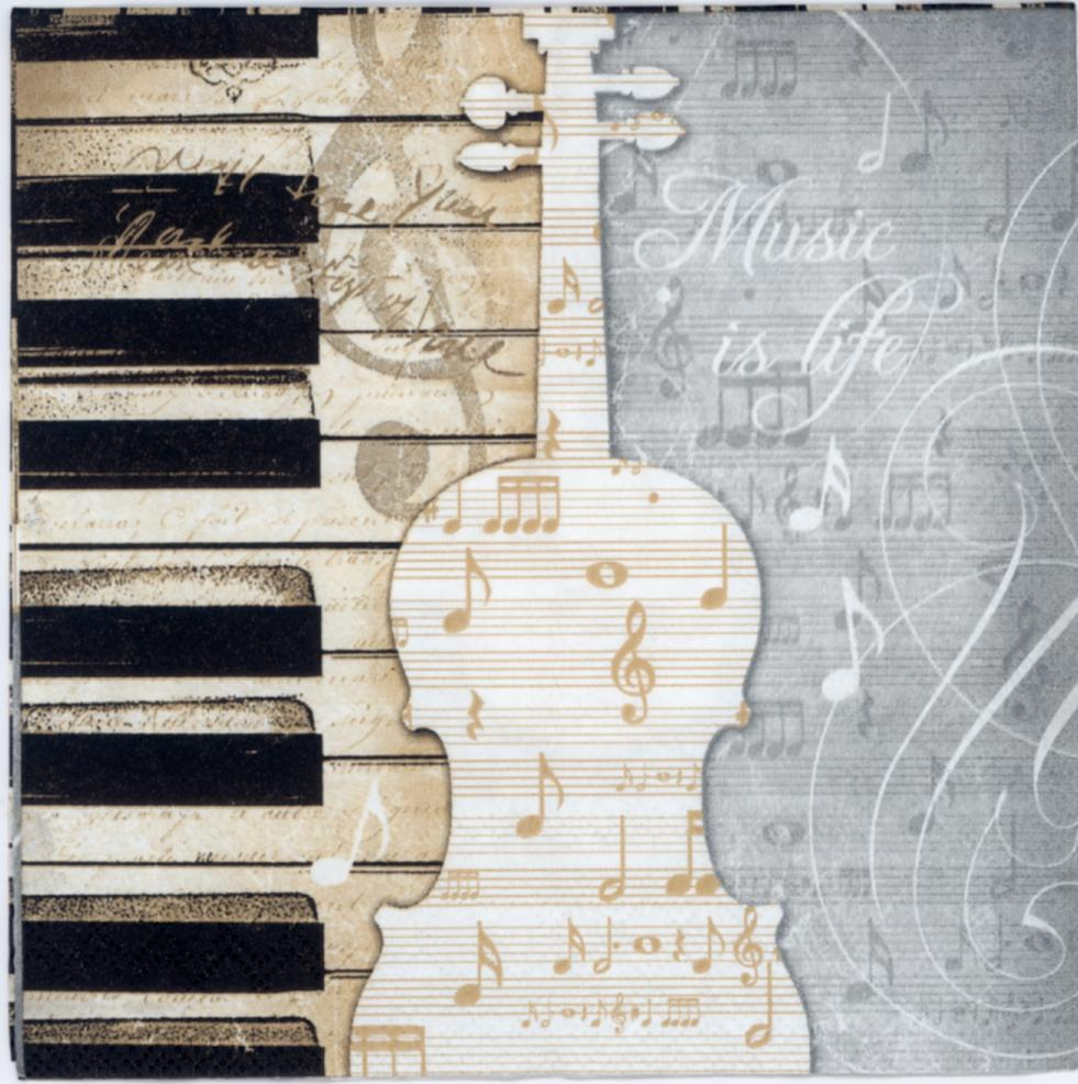 Decoupage Paper Of Piano Guitar On The Music Sheet