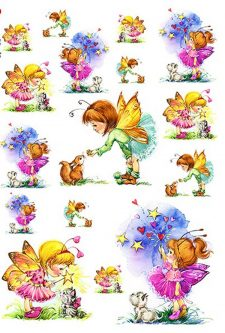 Decorative Rice Paper Butterfly Fairy Girls w Animals