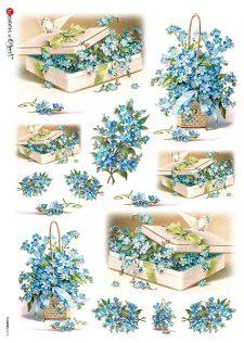 Decoupage Rice Paper Basket of Blue Flowers