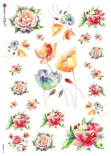 Decoupage Rice Paper Watercolor of Roses