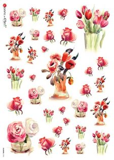 Decoupage Rice Paper | Vase of Roses & Tulips