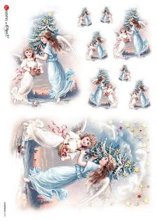 Decoupage Rice Paper Vintage Christmas Angels