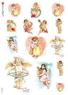 Decoupage Rice Paper from Italy Cupids & Hearts