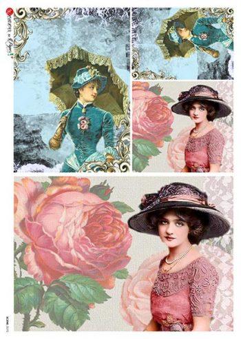 Decoupage Rice Paper Sheet Victorian Fashion Ladies