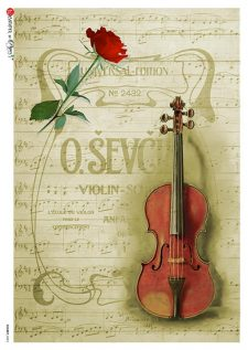 Decoupage Rice Paper Sheet Violin Rose Music