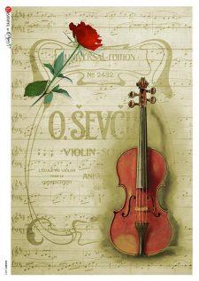 Decoupage Rice Paper Sheet Violin Rose Music