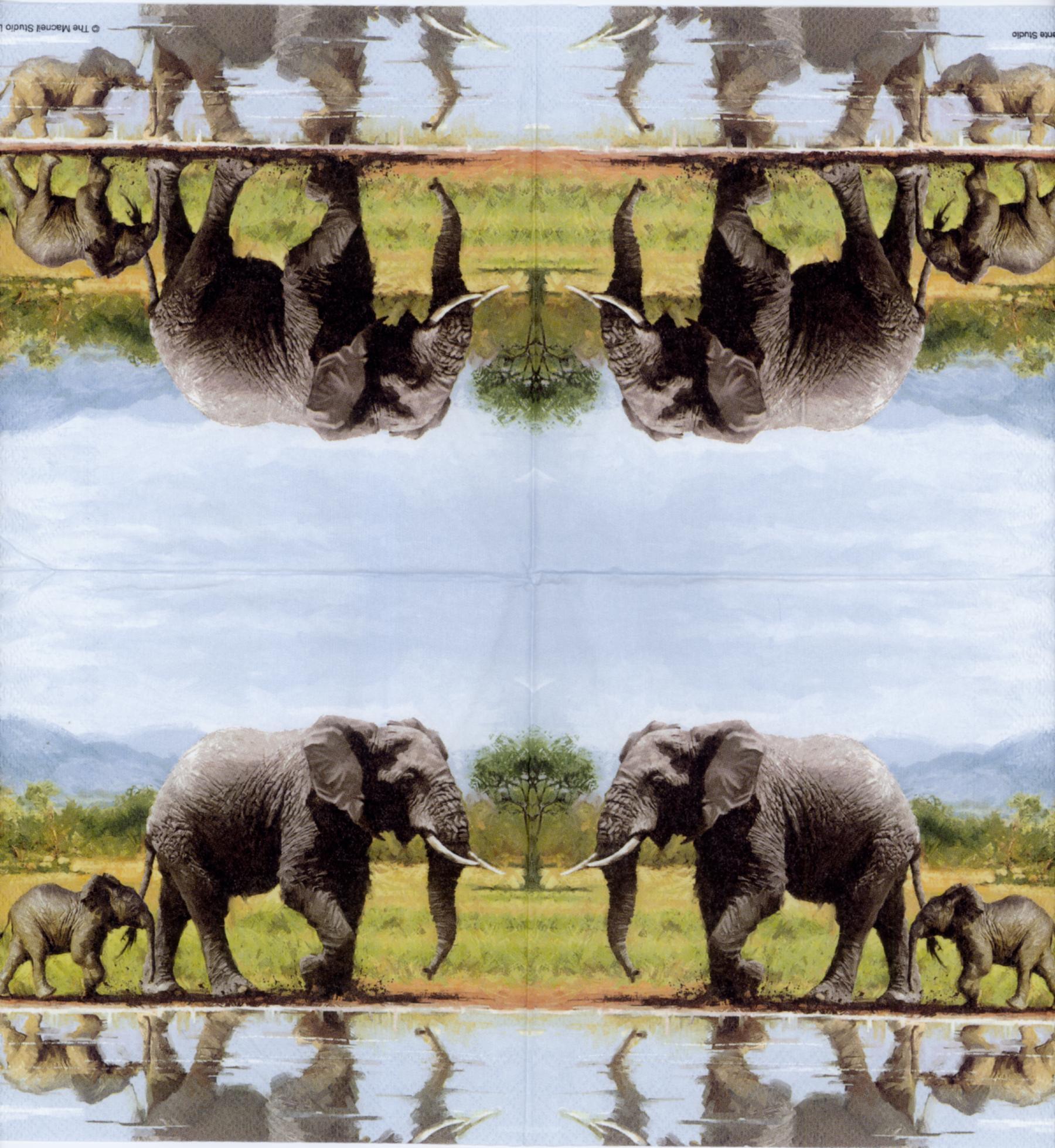 Decoupage Napkins Of Mother Elephant And Baby Elephant