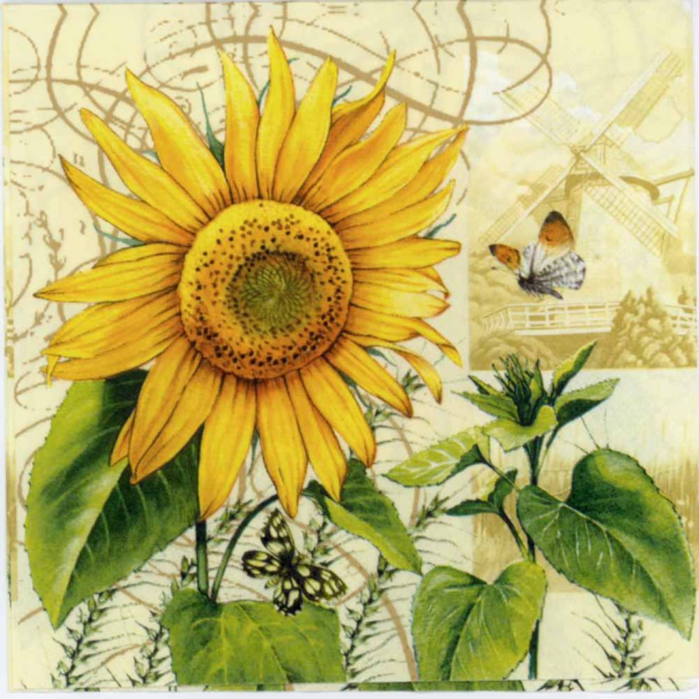 Decoupage Napkins Sunflower Napkin Sunflower Butterfly