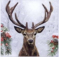 Decoupage Paper Napkins | Stag in Snow