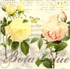 Decoupage Napkins | Flower Napkins |Pastel Roses Butterfly and Music | Paper Napkins for Decoupage
